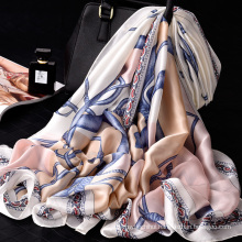 Beautiful ladies silk neck scarf digital print long scarf 100% polyester scarf
