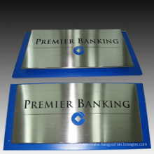 Stainless Steel Company Sign Etched and Paint
