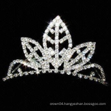 wedding hair accessories silver plated crystal tiara flower girl barrettes