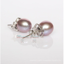 925 Sterling Silver 9-10mm Purple Freshwater Pearl Stud Earrings