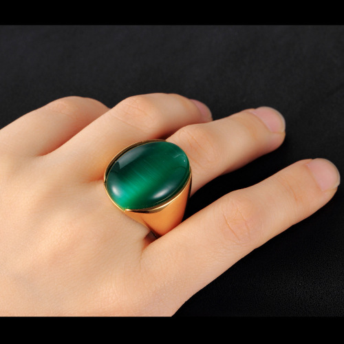 Cool men simple design big gem ring