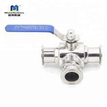 Válvula de bola de control de acero inoxidable sanitario de acero inoxidable SUS 304 Tri-Clamp, válvula de bola portátil con extremo de Tri-Clamp