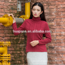 camisola de gola alta de mulher de design básico
