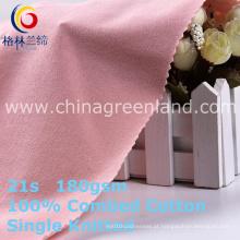100% algodão malha jersey tecido para camisa de mulher (gllml406)