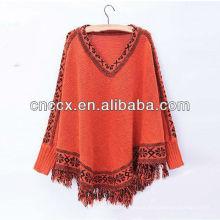 13STC5543 mulheres ponchos pullover 2013 malha poncho camisola