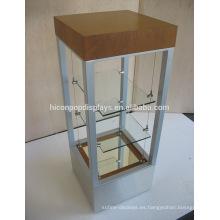 Lámpara de mesa de 3 capas Lámparas de cristal transparente de la tienda de venta al por menor Lámpara de madera del marco de Sunglass de la pantalla del metal