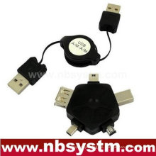 Cable retráctil USB y adaptador multifunción
