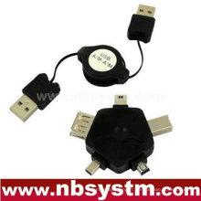 Câble USB rétractable et adaptateur multifonction