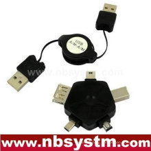 USB retractable cable and multifunction adapter