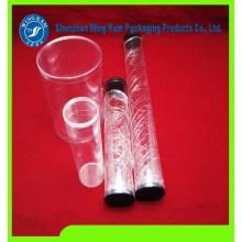kemasan plastik food grade silinder yang sangat jernih dengan cetakan produksi massal berdiameter 3 inci