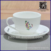 P&T porcelain factory coffee cup & saucer with logo