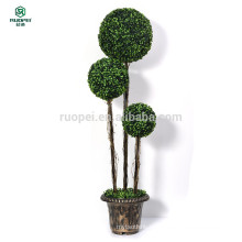 Árbol de la bola del topiary del boj artificial de los 120cm el 150cm 3 PC con el pote