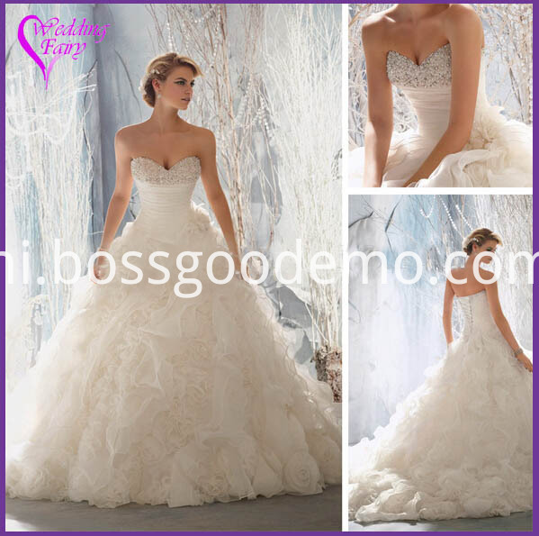 White Strapless for Bride Wedding Dress