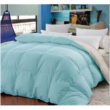 Твердое двухцветное одеяло с наполнителем из микрофибры с перьями
