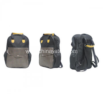 Houndstooth contrast color Backpack with 2 handles