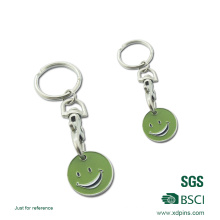 Black Nickel and Nickel Plated Trolley Coin with Key Rings