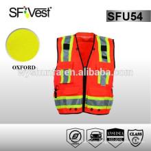 Chaleco reflectante de seguridad chaqueta reflectante chaqueta protectora viste chaleco con muchos bolsillos 100% poliéster ANSI / ISEA 107-2010