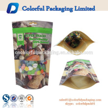 China factory supplier paper bag kraft food grade with clear window and zipper