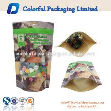 China fábrica fornecedor saco de papel kraft grau alimentício com janela clara e zíper