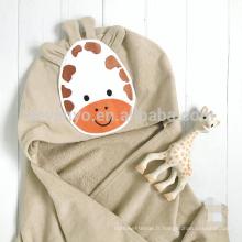 Serviette bébé à capuche visage animalier girafe cadeau personnalisé grande taille