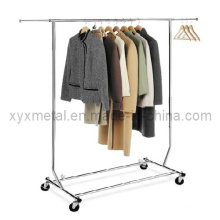 Folding Stainless Steel Clothes Hanger Rails Rolling Garment Display Rack