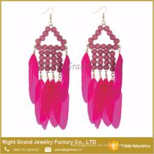 Nuevos productos Estilo único Joyería Red Feather Bead Tassel Drop Earrings