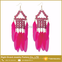 Nouveaux produits Unique Style Bijoux Red Feather Bead Tassel Drop Earrings