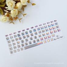 Autocollant peaux de clavier d'ordinateur portable imprimable lettre anglaise vinyle vinyle, autocollant clavier décoratif