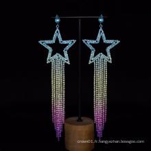 Jolies boucles d'oreilles en diamant carré vintage en forme d'étoile