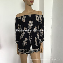 Las señoras del verano 2017 imprimieron el vestido atractivo de las mujeres de la ropa del cortocircuito del hombro de la flor