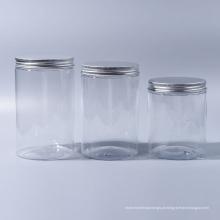 100ml / 180ml / 300ml / 400ml Pet Jar Frasco de boca larga plástico para Candy para Alimentos para sorvete para Cosmetic Reach Food Grade com tampas de alumínio