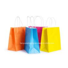 Sac de shopping en papier Kraft coloré