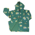 Yj-1109 Hooded Cute Green PU Toddler Light Rain Jacket Rains Raincoat