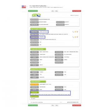 US Importieren Sie B / L-Daten für das Stromkabel