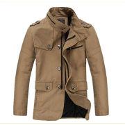 Men's Cotton Jacket/Slim Fit Jacket with Chin Guard & Button Details