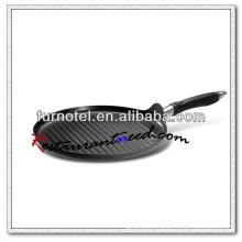 S119 Dia 300mm Flat Grooved Round Non-Stick Grill Pan