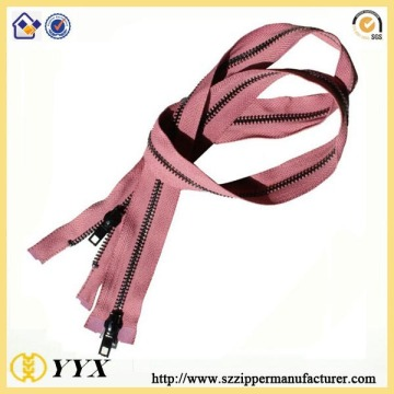 Decorative double side metal zipper for bags