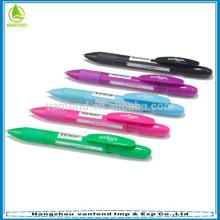 caneta de plástico janela promocional clique com mensagem publicitária de giro