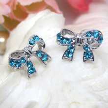 Fashion Alloy Sky Blue Strass Silber Bowknot Ohrstecker
