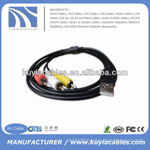 BRAND NEW PREMIUM BLACK USB TO 3RCA MALE TO MALE AV CABLE