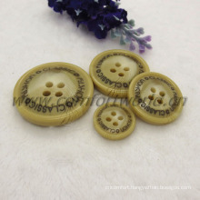 Resin button for jacket