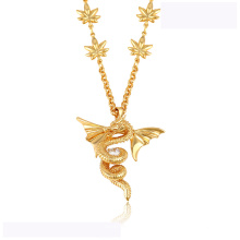 43313 hochwertige xuping mode halskette 18 Karat gold farbe luxuriöse Flying drache form mode halskette
