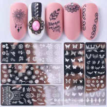2021 DIY Nail Beauty Design 12 Styles Stainless Metal Material Nail Art Stamp Polish Stamping Plates Nail Stamp Plate