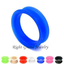Best-seller bleu double peau évasée flexible Silicone Ear Tunnels