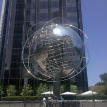 jardim ao ar livre decorações de aço inoxidável esfera globo escultura