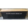 Industrial Retro Metal Riveted Sideboard Mango Wood Top