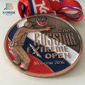 Высокое качество сплава цинка изготовленные на заказ Россия Полиций металла кубки и медали с лентой
