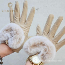 Competitive price sexy women real leather fur gloves winter warm gloves