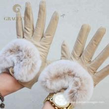Конкурентоспособная цена сексуальные женщины реальные кожаные меховые перчатки зимние теплые перчатки