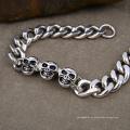 Bracelete de esqueleto da corrente da relação do crânio dos homens da jóia do motociclista de aço inoxidável